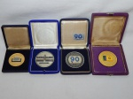 NU,ISMÁTICA - Quatro medalhas em metal, comemorativas: RENAVE, 90 Anos Lloyd Brasileiro, 25 Anos Verolme e Regata Frota Nacional de Petroleiros. Estojos originais. Maior 6cm.