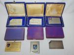 MILITARIA - Seis placas de agradecimento ao Almte Thelmo Dutra de Rezende, metal prateado. Estojos originais. Maior 6,5 x 10cm.