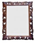 Grande e explendido espelho italiano bisotado com moldura em madeira maciça ricamente trabalhada e vazada, todo entalhado com riqueza de esmero. Medida 90x110 cm. Esta peça devida a sua dimensão não pode ser enviada pelos correios.