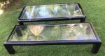 Par de mesas em madeira nobre no tom preto, medindo a maior 200x40x100cm e a menor 200x40x69cm