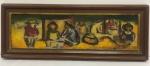 """Quadro óleo sobre tela José de Dome, assinado, """"a espera do mar"""" cabo frio, medindo 27x70cm"""