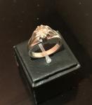 Excepcional anel masculino com diamante de aproximadamente 3 quilates, limpo, sem defeitos, lapidação Amsterdã, cor brown claro, com vida, bem lapidado, em ouro branco, numeração 26, pesando 11g