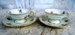 Par de xícaras - KPM - Royal Ivory - made in Poland - para café no tom gelo com chanfrados em alto relevo , vitrificadas com rendilhados e delicadas flores . ( 1 colada )