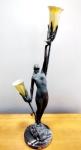 """PIERRE LE  FAGUAYS :  ( NANTES 1892 - PARIS 1962 ) Escultura / Luminária  ASSINADA em bronze maciço, Art Déco com duas luzes , representando  """"mulher nua sustentando  pomba """" , com base em pedra sobre onix/granito . Duas lindas tulipas em vidro colorido acidado . Assinado na base  da peça . E Placa também marcado GIRL W/DOVE BY LEFAGUAYS . Altura 72 cm. DESLUMBRANTE !!!! Peça RARA"""