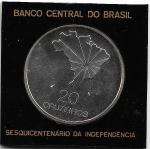 ESTOJO DE ACRILICO DO BANCO CENTRAL COM MOEDA DE PRATA DO BRASIL - 20 CRUZEIROS - ANO DE 1972 - COMEMORATIVA DO SESQUICENTENÁRIO DA INDEPENDÊNCIA - PESO: 18.04 GRAMAS - DIAMETRO APROXIMADO: 33 MM - CATALOGO AMATO: P-724 - VALOR DE MERCADO R$ 180,00 - CONSERVAÇÃO: FC = FLOR DE CUNHO (COM SINAIS DE PATINA DA PRATA)