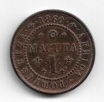 ANGOLA - COBRE - 1 MACUTA - 1860 - TIRAGEM DE 194.000 PEÇAS - PESO: 38 GRAMAS - DIAMETRO: 28 MM - SOBERBA - VALOR ESTIMADO: R$ 650,00 - PEÇA DIFICIL DE ACHAR. .