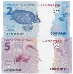 BRASIL - 2 CEDULAS IRMÃS - 2 E 5 REAIS - AMBAS COM NUMERAÇÃO AA000027890 - CONSERVAÇÃO FLOR DE ESTAMPA - ESTIMATIVA 150,00