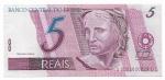 CEDULA DO BRASIL - PRIMEIRA SÉRIE DC0001 - NUMERAÇÃO 020029 - 5 REAIS - ANO DE 2009 - CATALOGO AMATO: C-280 - VALOR DE MERCADO: R$ 100,00 - CONSERVAÇÃO: FE = FLOR DE ESTAMPA