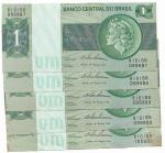 BRASIL - 5 PEÇAS SEQUENCIADAS DOS NUMEROS 099996 ATÉ  100000 - SÉRIE B10166 - 1 CRUZEIRO - ANO DE 1975 - CATALOGO AMATO: C-131 - VALOR ESTIMATIVO DE COMERCIO: R$ 200,00 - CONSERVAÇÃO: FE = FLOR DE ESTAMPA (CONTEM MANCHAS CONFORME AS FOTOS)