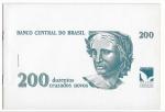 BRASIL - FOLDER DE LANÇAMENTO DA CEDULA DE 200 CRUZADOS NOVOS - OFICIAL DA CASA DA MOEDA DO BRASIL - NÃO ACOMPANHA A CEDULA - ESTIMATIVA R$ 150,00 - EXCELENTE ESTADO DE CONSERVAÇÃO.