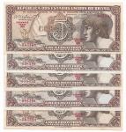 BRASIL - LOTE COM 5 CEDULAS - 5 CRUZEIROS (INDIO) - SÉRIES DIFERENTES - ANO DE 1962 - CATALOTO AMATO: C-112 - VALOR DE CATALOGO R$ 60,00 - CONSERVAÇÃO: FE = FLOR DE ESTAMPA