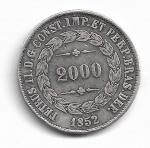 BRASIL IMPÉRIO - PRATA - 2.000 RÉIS - ANO DE 1852 - CATALOGO AMATO: P-571 - VALOR ESTIMATIVO R$ 300,00 - OTIMO ESTADO DE CONSERVAÇÃO.