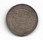 BRASIL IMPÉRIO - PRATA - 1.000 RÉIS - ANO DE 1858 - CATALOGO AMATO: P-606 - VALOR ESTIMATIVO R$ 100,00 - BOM ESTADO DE CONSERVAÇÃO.