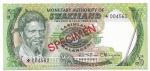 SPECIMEN - SWAZILAND - 5 EMALANGENI - ANO DE 1974 - CATALOGO PICK: P-3s - VALOR ESTIMATIVO R$ 200,00 - CONSERVAÇÃO: FE = FLOR DE ESTAMPA
