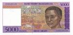 MADAGASCAR - 5.000 FRANCS - ANO DE 1995 - CATALOGO PICK: P-78a - VALOR ESTIMATIVO R$ 100,00 - CONSERVAÇÃO: FE = FLOR DE ESTAMPA
