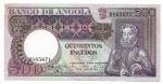 ANGOLA - 500 ESCUDOS - ANO DE 1973 - LUIZ DE CAMÕES - CATALOGO PICK: P-107 - VALOR ESTIMATIVO R$ 100,00 - CONSERVAÇÃO: DETALHE NA PONTA ACIMA AO LADO DA PALAVRA BANCO