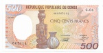 CONGO - 500 FRANCS - ANO DE 1989/91 - CATALOGO PICK: P-8 - VALOR ESTIMATIVO R$ 100,00 - CONSERVAÇÃO: FE = FLOR DE ESTAMPA