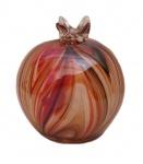 Belo enfeite de vidro Murano com motivo de romã com rico design e policromia multicolor. Medida  9cm de diâmetro.