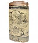 """Grande cerâmica porcelanizada com tampa e imagem de """"MAPPE MONDE"""". Medida 40 cm de altura."""