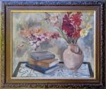 Georgina de Albuquerque (1885-1962). FLORES E LIVROS. Óleo sobre tela. 50 x 64 cm (mi); 68 x 80 cm (me). Assinado (cie).
