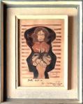 """Di Cavalcanti (1897-1976). RETRATO SURREALISTA DE IVETTE. 1962. Técnica mista sobre cartão. 27 x 18 cm (mi); 41 x 33 cm (me). Assinado (cid). Dedicatória """"Ivette beijos do Di Cavalcanti Paris 962"""". A dedicatória se refere a uma de suas modelos, Ivette Bahia Rocha, a que chamava Divina, com quem o artista viveu numa de suas várias permanências na capital francesa."""
