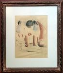 José Pancetti (1902-1958). DUAS MENINAS. Técnica mista sobre cartão. 27 x 21 cm (mi); 47 x 41 cm (me). Assinado Pancetti (cid). Ricamente emoldurado e protegido com vidro antirreflex.