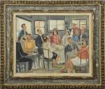 Milton Dacosta (Niterói/RJ, 1915 - Rio de Janeiro/RJ, 1988). CENA DE BAR. 1937. Óleo sobre tela. 40 x 50 cm (mi). 60 x 69 cm (me). Assinado Dacosta 1937 (cid). Emoldurado em moldura original Kaminagai.