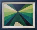 Hércules Barsotti (1914-2010). ABSTRAÇÃO. 1969. Têmpera sobre tela colada sobre cartão. 30 x 40 cm (mi); 40 x 52 cm (me). Assinado e datado no verso.