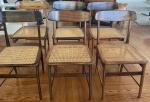 SERGIO RODRIGUES - 6 maravilhosas cadeiras em jacarandá e palhinha indiana designer Lucio Costa. (palhinha com sinais de uso, em bom estado)