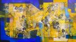 ROBERTO BURLE MARX - tinta gráfica s/ panneaux , datado 1985, medindo: 2,20 m x 1,25 m