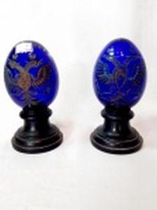 Par de Pinhas em Vidro Azul Cobalto pintado com ouro  . Medida: 14 cm altura x 6,5 cm diametro