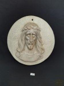 Arte Cemeterial Placa Votiva em Marmore Peça Italiana Século XX . Medida 27 cm diametro x 1,5 cm espessura