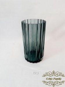 - Vaso Floreira em  cristal grosso  canelado . Medida: 20 cm altura x 11 cm diametro.
