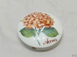 Caixa redonda pucaro em porcelana Royal com pintura floral. Medindo 14cm de diâmetro x 3cm de altura.