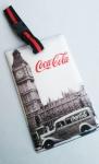 Etiqueta marcadora para mala com imagem de Londres, confeccionada em material plástico flexível com alça para prender na mala e contendo no verso lugar para dados pessoais.