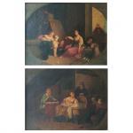 Pendant de pinturas. Óleo sobre tela. Europa. Provavelmente Escola Holandesa, Séc. XIX. 37,5 x 48 cm. Apresenta pequeno restauro.
