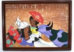 """GERARDO DE SOUZA (1950) """" Animais""""- , óleo sobre tela, assinado,datado e localizado no C.I.D, Rio 84, no verso, assinado, titulado e localizado. Natural de Guaraciaba do Norte, CE. Pintor ativo na cidade do Rio de Janeiro. Emoldurado. Med. 45 x 62 cm/28 x 55 cm."""