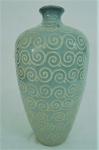 CÉLADON, Belíssimo vaso em porcelana oriental na tonalidade verde. Med. 44 cm alt x 23 cm diâmetro.