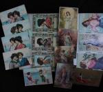 BELA COLEÇÃO COM 61 POSTAIS DO INÍCIO DO SÉCULO XX- COM ILUSTRAÇÕES DE FIGURAS FEMININAS, ALGUMAS SÉRIES COM RELEVO E ALGUNS CIRCULADOS