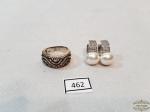 462-  Jogo de Par de Bricos Perola sintetica e anel em Prata Lei 925 Peso 9 gramas aro 17 . Anel Perdas Strass
