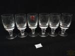 Jogo de 06 Calices de Licor em Cristal reinoso lapidado Folhas. Medida 8 cm altura x 3,5 cm diametro