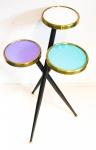 Mesa de apoio anos 1950-Vintage Colors- Três pés cruzados, três bandejas. Alt. 66 cm.