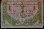 OCEANIA FRANCESA 1 FRANCO 07 ABRIL DE 1942 - EXTREMAMENTE ESCASSO - RARO - VALOR ESTIMADO EM CATALOGO 300 DOLARES ( 1.740,00 REAIS )  BONUS BANCÁRIOS DOS ESTABELECIMENTOS FRANCESES LIVRES DA OCEANIA , EMISSÇAO DE EMERGÊNCIA DA SEGUNDA GUERRA MUNDIAL