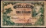 SARAWAK 1 DOLAR 1 DE JANEIRO DE 1935 RARO.  VYNER BROOKE - CÉDULA PARA COLECIONADOR EXTREMAMENTE EXIGENTE . VALOR ESTIMADO EM CATALOGO PARA BC 350 DOLARES ( 2.030,00 REAIS ) , MBC 600 DOLARES ( 3.480,00 REAIS )