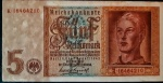 ALEMANHA 5 REICHSMARK  01 DE AGOSTO DE 1942  FLOR DE ESTAMPA . VALOR ESTIMADO EM CATALOGO PARA FE 40 DOLARES ( 232,00 REAIS ) ALEMANHA NAZISTA . OPORTUNIDADE ÚNICA !