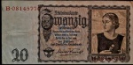 ALEMANHA 20 REICHSMARK 16 DE JUNHO DE 1939 . PEÇA BELÍSSIMA .160 X 80 MM . ALEMANHA NAZISTA . VALOR ESTIMADO EM CATALOGO 40 DOLARES ( 232,00 REAIS )