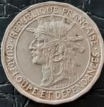 GUADALOUPE 50 CENTIMES 1921 ( COLONIA FRANCESA ) , NÍQUEL DE COBRE 3.6 GRAMAS, 22.3 MM .  CUNHADAS 600 MIL MOEDAS . ESCASSO.
