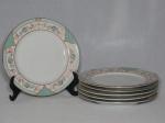 SCHIMIDT - Seis pratos para sobremesa em porcelana nacional branca. Decoração em ver dourado com volutas e folhagens. Modelo Voyage Barroco. Diam. 19cm.