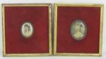 Duas pinturas miniaturas sobre celuloide - Bustos de Damas. Emolduradas. Med. pinturas 5x4 e 4x3cm. Med. com moldura 14,5x13,5cm.