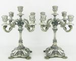 Par de candelabros estilo D. João V para 5 velas, em prata contrastada e cinzelada em conchas, flores, folhas e volutas. Alt. 34 cm. Peso 3.050 gramas.